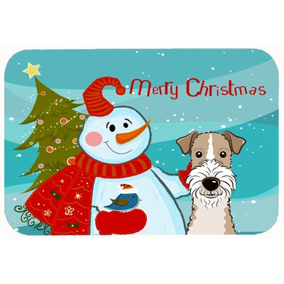 "Snowman with Wire Haired Fox Terrier Kitchen/Bath Mat Size: 20"" W x 30"" L"