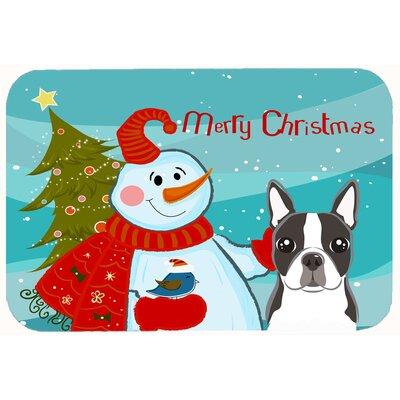 """Snowman with Boston Terrier Kitchen/Bath Mat Size: 24"""" W x 36"""" L"""