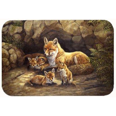 "Family Foxes by the Den Kitchen/Bath Mat Size: 24"" W x 36"" L"