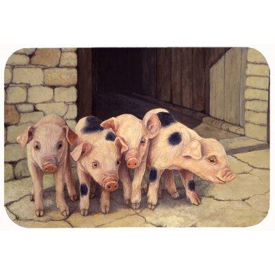 """Jonah Pigs Piglets by Daphne Baxter Kitchen/Bath Mat Size: 24"""" W x 36"""" L"""