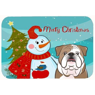 "Snowman with English Bulldog Kitchen/Bath Mat Size: 20"" W x 30"" L, Color: Brown"
