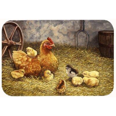 """Levi Chicken Hen and Her Chicks Kitchen/Bath Mat Size: 20"""" W x 30"""" L"""