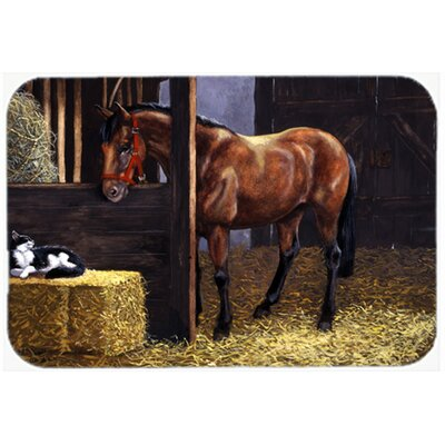 """Horse in Stable with Cat Kitchen/Bath Mat Size: 24"""" W x 36"""" L"""