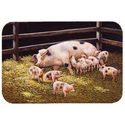 "Jonah Pigs Piglets at Dinner Time Kitchen/Bath Mat Size: 24"" W x 36"" L"