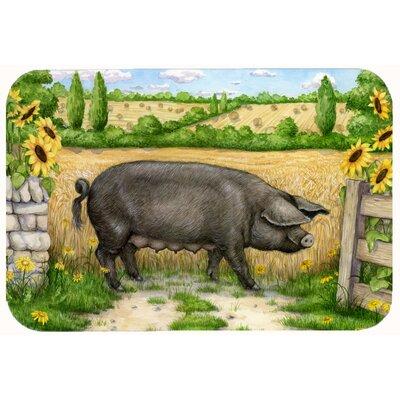 "Jonah Pig with Sunflowers Kitchen/Bath Mat Size: 20"" W x 30"" L"