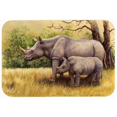 "Rhinoceros by Daphne Baxter Kitchen/Bath Mat Size: 24"" W x 36"" L"