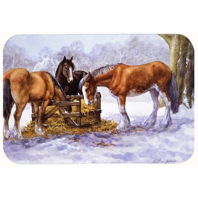"""Horses Eating Hay in the Snow Kitchen/Bath Mat Size: 24"""" W x 36"""" L"""
