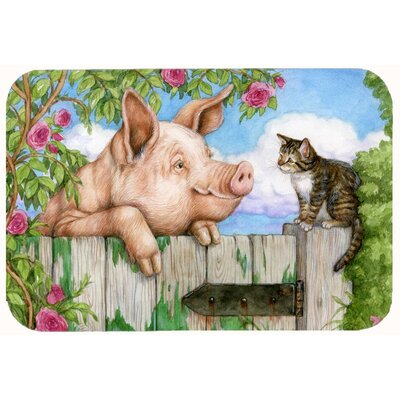"""Jonah Pig at the Gate with the Cat Kitchen/Bath Mat Size: 24"""" W x 36"""" L"""