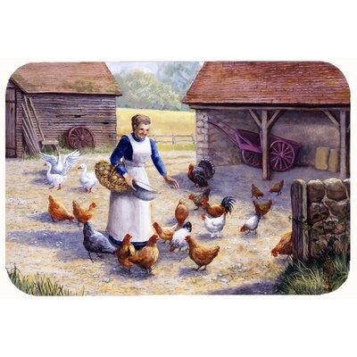 """Levi Chicken Hen Feeding Time Kitchen/Bath Mat Size: 20"""" W x 30"""" L"""