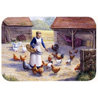 """Levi Chicken Hen Feeding Time Kitchen/Bath Mat Size: 24"""" W x 36"""" L"""