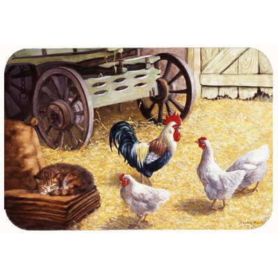 """Jaiden Rooster and Hens Chickens in the Barn Kitchen/Bath Mat Size: 24"""" W x 36"""" L"""