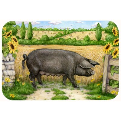 "Jonah Pig with Sunflowers Kitchen/Bath Mat Size: 24"" W x 36"" L"