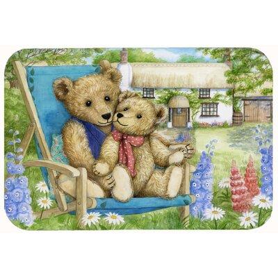 "Justin Teddy Bears in Flowers Kitchen/Bath Mat Size: 20"" W x 30"" L"