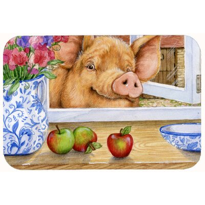"""Jonah Pig Trying to Reach the Apple in the Window Kitchen/Bath Mat Size: 24"""" W x 36"""" L"""