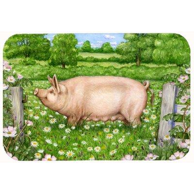 "Jonah Pig in Dasies by Debbie Cook Kitchen/Bath Mat Size: 24"" W x 36"" L"