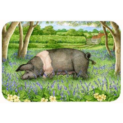"Jonah Pig in Bluebells by Debbie Cook Kitchen/Bath Mat Size: 20"" W x 30"" L"