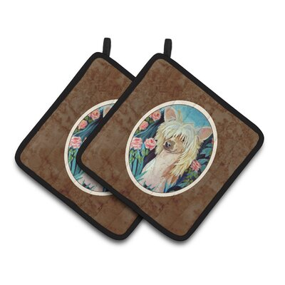 Chinese Crested Brown/Beige Potholder