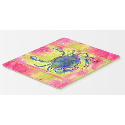 "Bright Pink and Blue Crab Kitchen/Bath Mat Size: 24"" H x 36"" W x 0.25"" D"