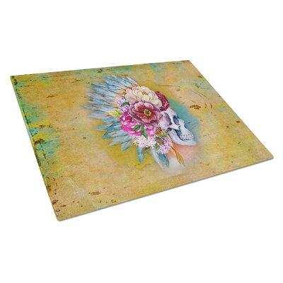 Rectangle Glass Flowers Skull Cutting Board