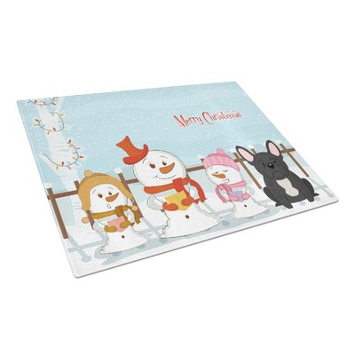 Merry Christmas Carolers Glass French Bulldog Cutting Board Color: Black