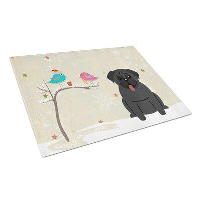 Christmas Presents Glass Pug Cutting Board Color: Black