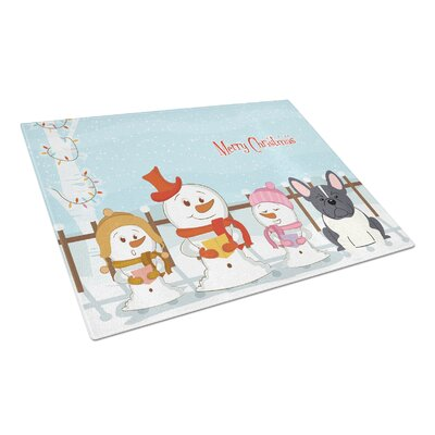 Merry Christmas Carolers Glass French Bulldog Cutting Board Color: Black/White