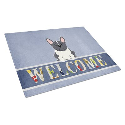 Welcome Dog Glass French Bulldog Cutting Board Color: Black/White