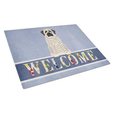 Welcome Dog Glass Mastiff Cutting Board Color: Brindle/White