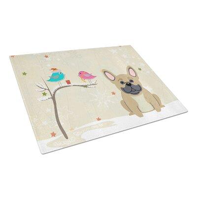 Christmas Presents Glass French Bulldog Cutting Board Color: Cream
