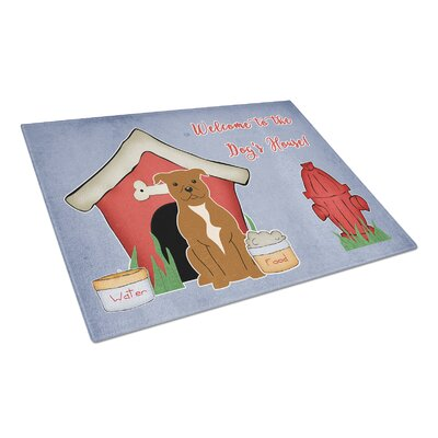 Dog House Glass Staffordshire Bull Terrier Cutting Board Color: Brown