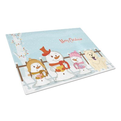 Merry Christmas Carolers Glass Chow Chow Cutting Board Color: White