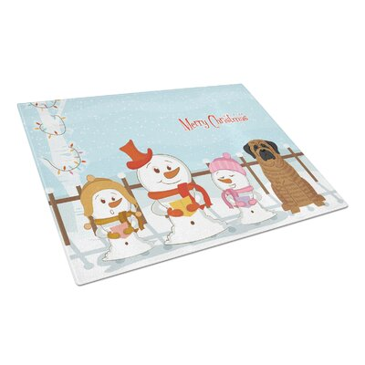 Merry Christmas Carolers Glass Mastiff Cutting Board Color: Brindle