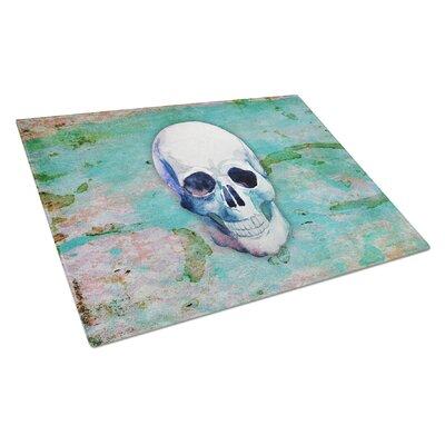 Glass Teal Skull Cutting Board