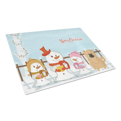 Merry Christmas Carolers Glass Chow Chow Cutting Board Color: Cream