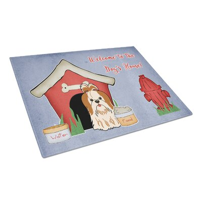 Dog House Glass Shih Tzu Cutting Board Color: Red/White