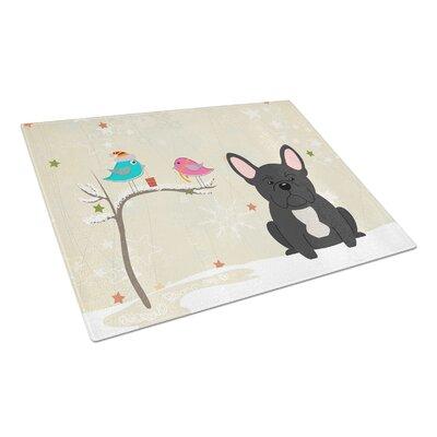 Christmas Presents Glass French Bulldog Cutting Board Color: Black