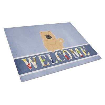 Welcome Dog Glass Chow Chow Cutting Board Color: Cream