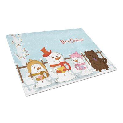 Merry Christmas Carolers Glass Chow Chow Cutting Board Color: Chocolate