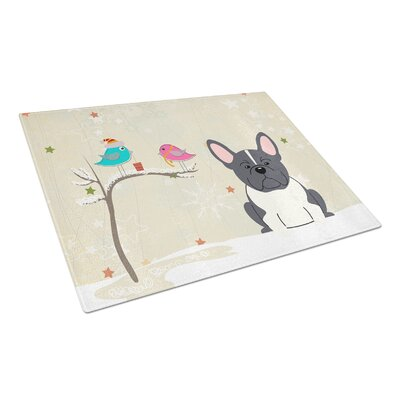 Christmas Presents Glass French Bulldog Cutting Board Color: Black/White