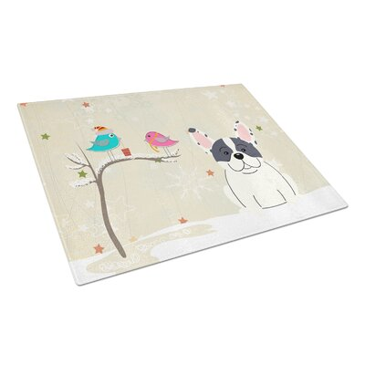Christmas Presents Glass French Bulldog Cutting Board Color: Piebald
