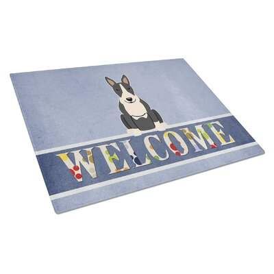 Welcome Dog Glass Bull Terrier Cutting Board Color: Black/White