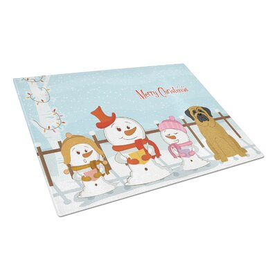 Merry Christmas Carolers Glass Mastiff Cutting Board Color: Fawn