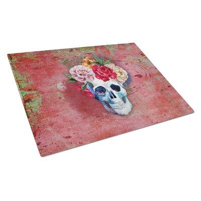 Glass Flowers Skull Cutting Board