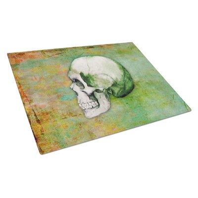 Glass Green Skull Cutting Board