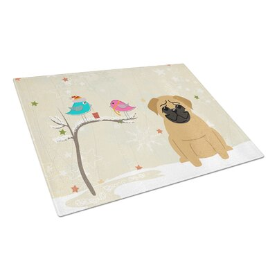 Christmas Presents Glass Pug Cutting Board Color: Brown