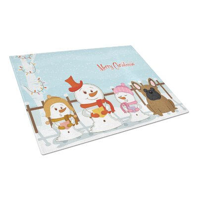 Merry Christmas Carolers Glass French Bulldog Cutting Board Color: Brown