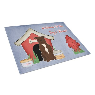 Dog House Glass Staffordshire Bull Terrier Cutting Board Color: Chocolate