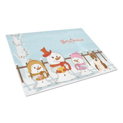 Merry Christmas Carolers Glass Bull TerrierCutting Board Color: Brindle
