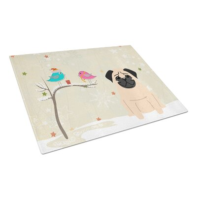 Christmas Presents Glass Pug Cutting Board Color: Fawn