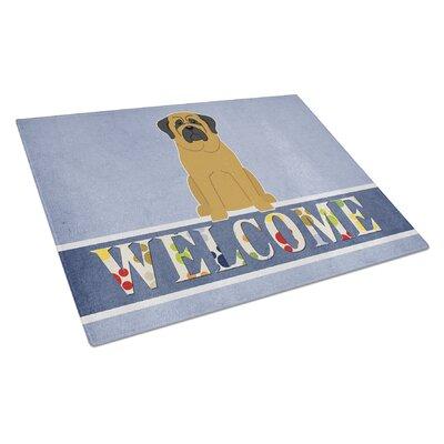 Welcome Dog Glass Mastiff Cutting Board Color: Fawn